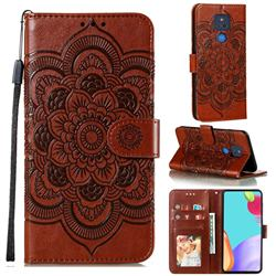 Intricate Embossing Datura Solar Leather Wallet Case for Motorola Moto G Play(2021) - Brown
