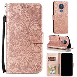 Intricate Embossing Lace Jasmine Flower Leather Wallet Case for Motorola Moto G Play(2021) - Rose Gold