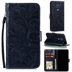 Intricate Embossing Lace Jasmine Flower Leather Wallet Case for Motorola Moto G Play(2021) - Dark Blue