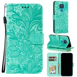 Intricate Embossing Lace Jasmine Flower Leather Wallet Case for Motorola Moto G Play(2021) - Green