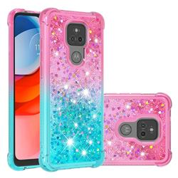Rainbow Gradient Liquid Glitter Quicksand Sequins Phone Case for Motorola Moto G Play(2021) - Pink Blue