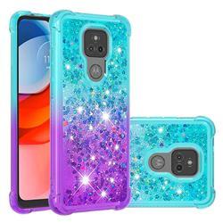 Rainbow Gradient Liquid Glitter Quicksand Sequins Phone Case for Motorola Moto G Play(2021) - Blue Purple
