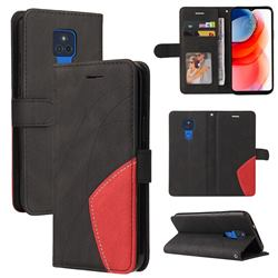 Luxury Two-color Stitching Leather Wallet Case Cover for Motorola Moto G Play(2021) - Black
