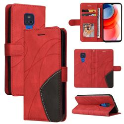 Luxury Two-color Stitching Leather Wallet Case Cover for Motorola Moto G Play(2021) - Red