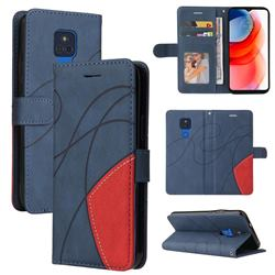 Luxury Two-color Stitching Leather Wallet Case Cover for Motorola Moto G Play(2021) - Blue