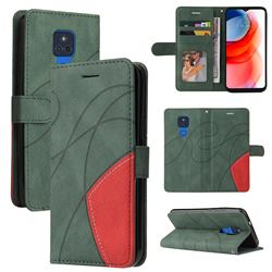 Luxury Two-color Stitching Leather Wallet Case Cover for Motorola Moto G Play(2021) - Green