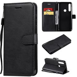 Retro Greek Classic Smooth PU Leather Wallet Phone Case for Motorola Moto G Power - Black