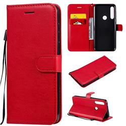 Retro Greek Classic Smooth PU Leather Wallet Phone Case for Motorola Moto G Power - Red