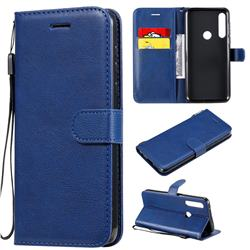 Retro Greek Classic Smooth PU Leather Wallet Phone Case for Motorola Moto G Power - Blue