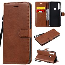 Retro Greek Classic Smooth PU Leather Wallet Phone Case for Motorola Moto G Power - Brown