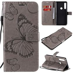Embossing 3D Butterfly Leather Wallet Case for Motorola Moto G Power - Gray