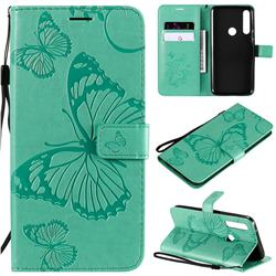 Embossing 3D Butterfly Leather Wallet Case for Motorola Moto G Power - Green