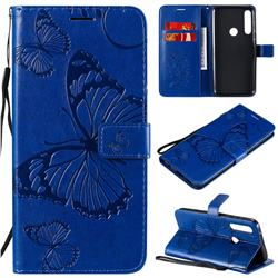 Embossing 3D Butterfly Leather Wallet Case for Motorola Moto G Power - Blue