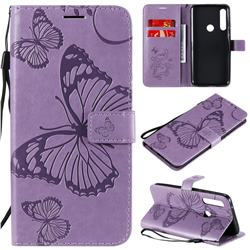 Embossing 3D Butterfly Leather Wallet Case for Motorola Moto G Power - Purple