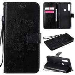 Embossing Butterfly Tree Leather Wallet Case for Motorola Moto G Power - Black