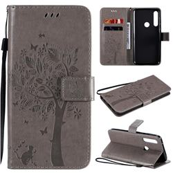 Embossing Butterfly Tree Leather Wallet Case for Motorola Moto G Power - Grey