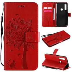 Embossing Butterfly Tree Leather Wallet Case for Motorola Moto G Power - Red