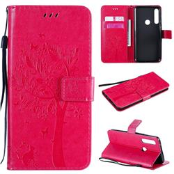 Embossing Butterfly Tree Leather Wallet Case for Motorola Moto G Power - Rose