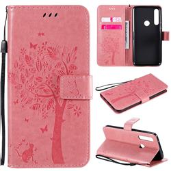 Embossing Butterfly Tree Leather Wallet Case for Motorola Moto G Power - Pink