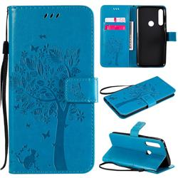 Embossing Butterfly Tree Leather Wallet Case for Motorola Moto G Power - Blue