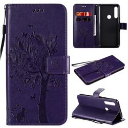 Embossing Butterfly Tree Leather Wallet Case for Motorola Moto G Power - Purple