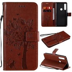 Embossing Butterfly Tree Leather Wallet Case for Motorola Moto G Power - Coffee
