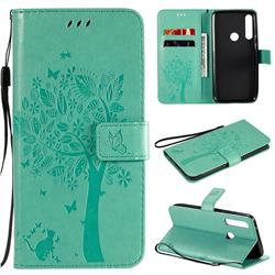 Embossing Butterfly Tree Leather Wallet Case for Motorola Moto G Power - Cyan