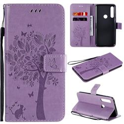 Embossing Butterfly Tree Leather Wallet Case for Motorola Moto G Power - Violet