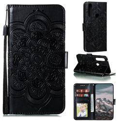 Intricate Embossing Datura Solar Leather Wallet Case for Motorola Moto G Power 2020 - Black