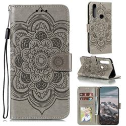 Intricate Embossing Datura Solar Leather Wallet Case for Motorola Moto G Power 2020 - Gray
