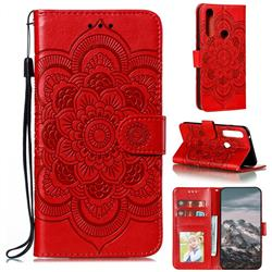 Intricate Embossing Datura Solar Leather Wallet Case for Motorola Moto G Power 2020 - Red