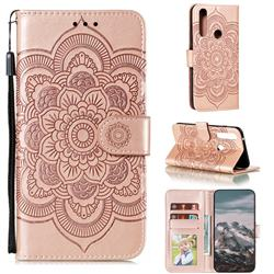 Intricate Embossing Datura Solar Leather Wallet Case for Motorola Moto G Power 2020 - Rose Gold