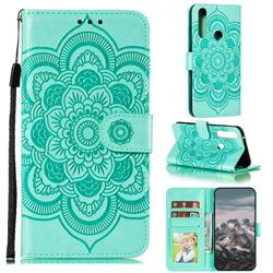 Intricate Embossing Datura Solar Leather Wallet Case for Motorola Moto G Power 2020 - Green