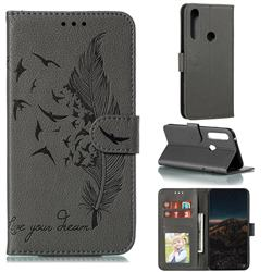 Intricate Embossing Lychee Feather Bird Leather Wallet Case for Motorola Moto G Power 2020 - Gray