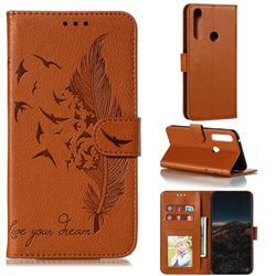 Intricate Embossing Lychee Feather Bird Leather Wallet Case for Motorola Moto G Power 2020 - Brown