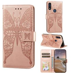 Intricate Embossing Rose Flower Butterfly Leather Wallet Case for Motorola Moto G Power 2020 - Rose Gold
