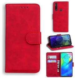 Retro Classic Skin Feel Leather Wallet Phone Case for Motorola Moto G Power 2020 - Red