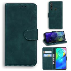 Retro Classic Skin Feel Leather Wallet Phone Case for Motorola Moto G Power 2020 - Green