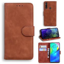Retro Classic Skin Feel Leather Wallet Phone Case for Motorola Moto G Power 2020 - Brown