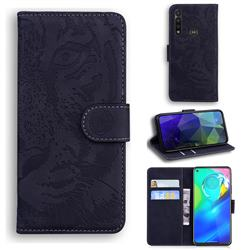 Intricate Embossing Tiger Face Leather Wallet Case for Motorola Moto G Power 2020 - Black
