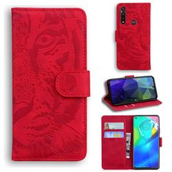 Intricate Embossing Tiger Face Leather Wallet Case for Motorola Moto G Power 2020 - Red