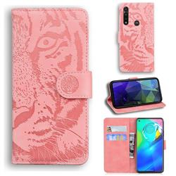 Intricate Embossing Tiger Face Leather Wallet Case for Motorola Moto G Power 2020 - Pink