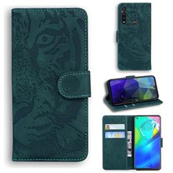 Intricate Embossing Tiger Face Leather Wallet Case for Motorola Moto G Power 2020 - Green