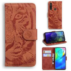 Intricate Embossing Tiger Face Leather Wallet Case for Motorola Moto G Power 2020 - Brown