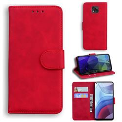 Retro Classic Skin Feel Leather Wallet Phone Case for Motorola Moto G Power 2021 - Red