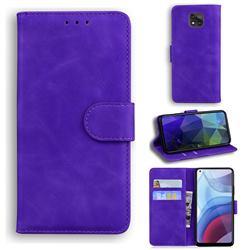 Retro Classic Skin Feel Leather Wallet Phone Case for Motorola Moto G Power 2021 - Purple