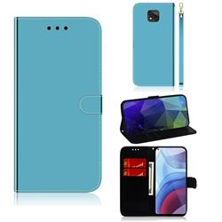 Shining Mirror Like Surface Leather Wallet Case for Motorola Moto G Power 2021 - Blue