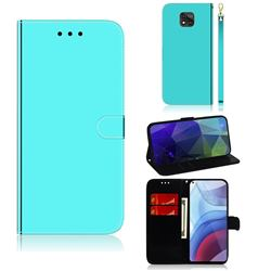 Shining Mirror Like Surface Leather Wallet Case for Motorola Moto G Power 2021 - Mint Green