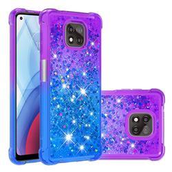 Rainbow Gradient Liquid Glitter Quicksand Sequins Phone Case for Motorola Moto G Power 2021 - Purple Blue