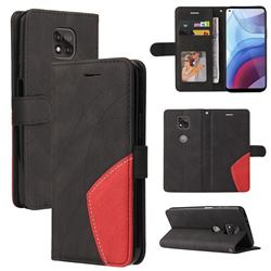 Luxury Two-color Stitching Leather Wallet Case Cover for Motorola Moto G Power 2021 - Black